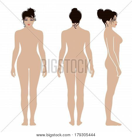 Full length front back side view of a lean standing naked woman isolated on white background. Vector illustration. You can use this image for fashion design and etc.