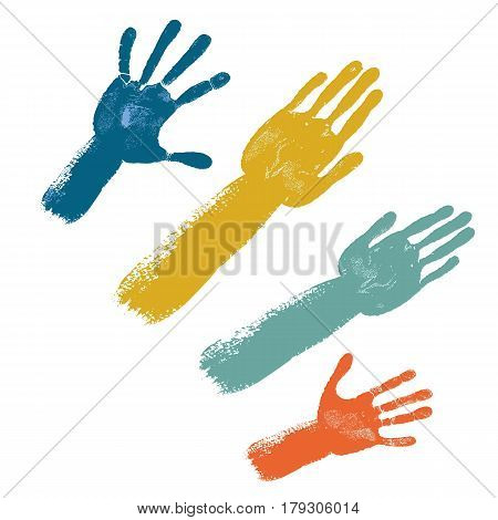 Voting colored hands isolated on white background vector illustration