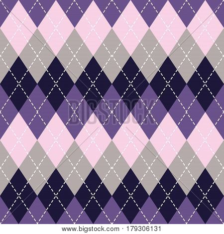 Argyle seamless pattern background. Lavender and grey colors. For print and web. Vector EPS10.