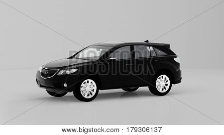 Generic Black Suv Car Isolated On White Background, Front View