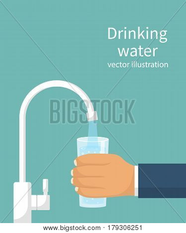 Pour water into the glass from the filter. Cup of purified water holding in hand. Vector illustration flat design. Isolated on background. Man drinking healthy beverage. Person filling up a glass.