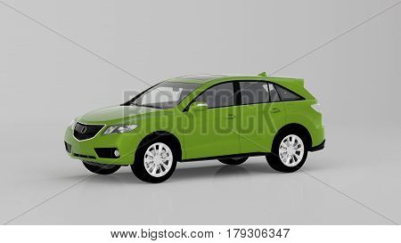Generic Green Suv Car Isolated On White Background, Front View