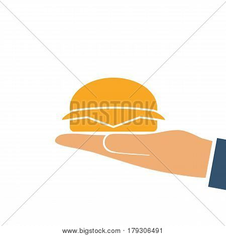 Hamburger holding in hand silhouette. Vector illustration flat style design. Eating fast food. Hamburger pictogram isolated on white background.