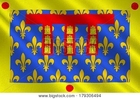 Flag of Pas-de-Calais is a department in Hauts-de-France is a Region of northern France. 3d illustration