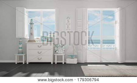 Mediterranean White And Gray Living, Windows With Sea Panorama, Summer Hotel Resort Interior Design