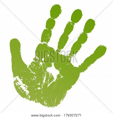 Vector illustration old man green hand print isolated on white background