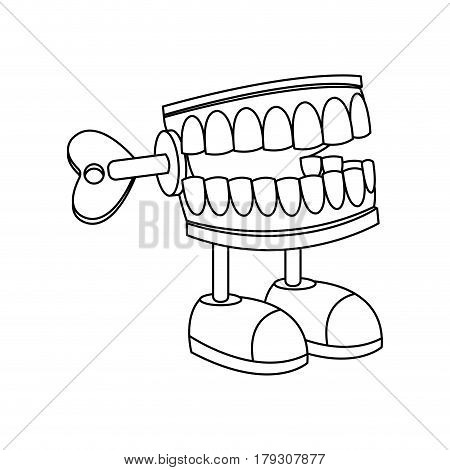 teeth Chattering joke icon over white background. vector illustration