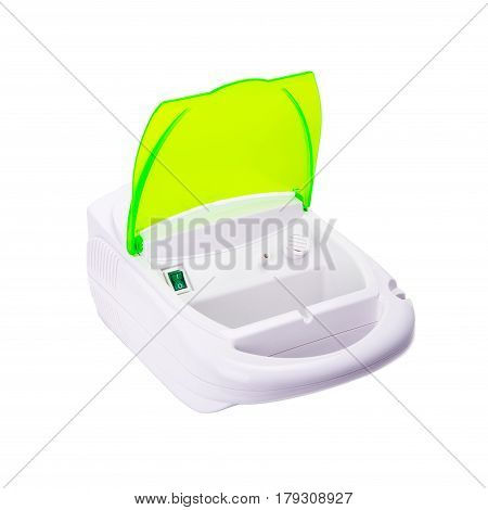 Inhaler Compressor Nebulizer On White Background