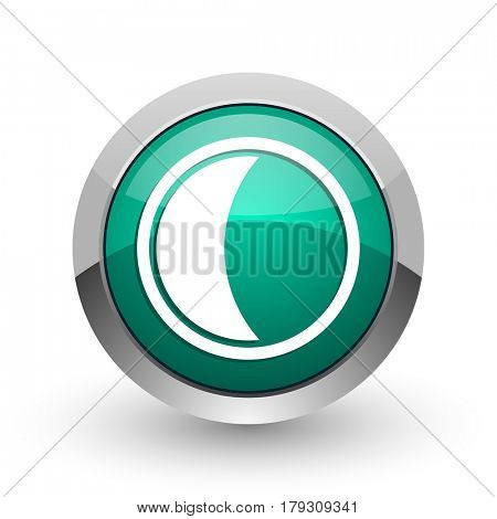 Moon silver metallic chrome web design green round internet icon with shadow on white background.