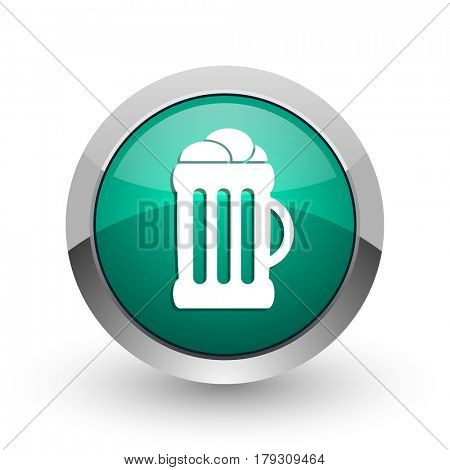 Beer silver metallic chrome web design green round internet icon with shadow on white background.