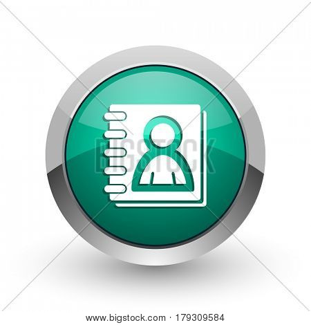 Address book silver metallic chrome web design green round internet icon with shadow on white background.