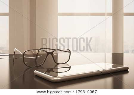 Close up of cellphone and specs placed on office desktop. Window with city view in the background. Toned image. 3D Rendering