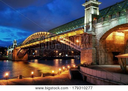 The Pushkinsky (Andreevsky) bridge in Moscow, Russia
