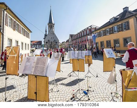 Weikersheim, Germany - September 2016: local orchestra at the central town square