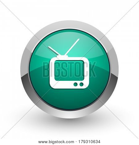 Tv silver metallic chrome web design green round internet icon with shadow on white background.