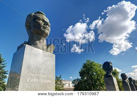 MOSCOW, RUSSIA - AUGUST 17, 2013: Monuments to Yuri Gagarin (foreground) and other russian astronauts on the Cosmonauts Alley in Moscow.