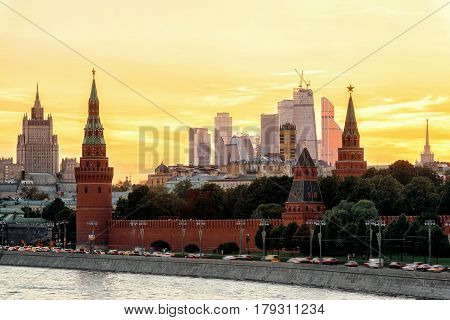View of Moscow Kremlin and Moscow-city at sunset, Moscow, Russia
