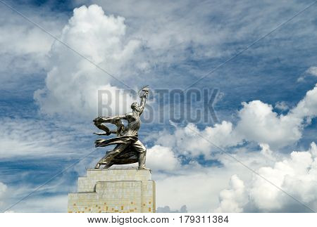 MOSCOW - JULY 22, 2012: Famous soviet monument Worker and Kolkhoz Woman (Worker and Collective Farmer) of sculptor Vera Mukhina. The monument is made of stainless steel for the 1937 World's Fair in Paris.
