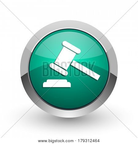 Auction silver metallic chrome web design green round internet icon with shadow on white background.