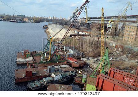 Former Soviet shipyard. At present time property of ukrainian president Poroshenko.March 29 ,2017 in Kiev, Ukraine