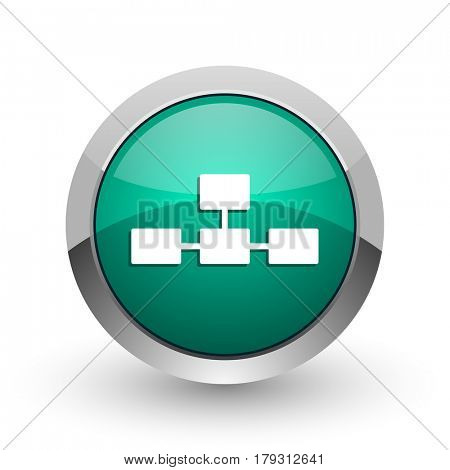 Database silver metallic chrome web design green round internet icon with shadow on white background.