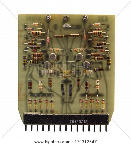 The Old   Transistors Computer Chip On White Background