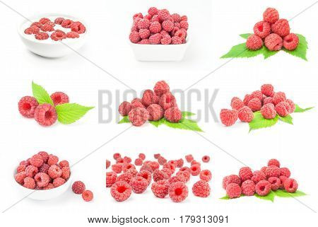 Collage of ripe red raspberries isolated on a white background