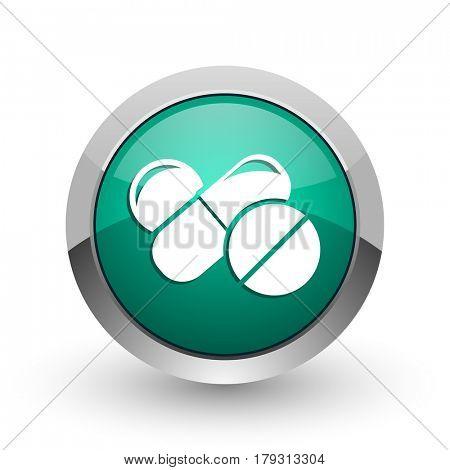 Medicine silver metallic chrome web design green round internet icon with shadow on white background.