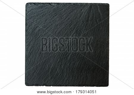 square black stone slate isolated on white