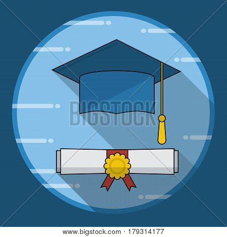 Graduation cap and diploma rolled scroll icon with long shadow. Vector illustration in flat style