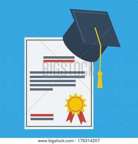 Graduation cap and paper Graduation Award flat design icon. Finish education symbol.Vector illustration