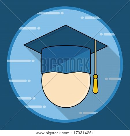 Graduation cap icon with long shadow. Vector illustration in flat style.Finish education symbol
