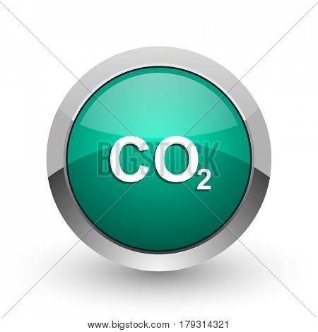 Carbon dioxide silver metallic chrome web design green round internet icon with shadow on white background.
