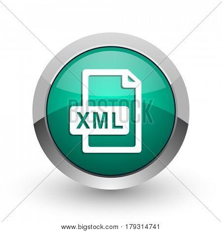 Xml file silver metallic chrome web design green round internet icon with shadow on white background.