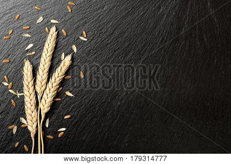 wheat ears on black stone texture, wheat background