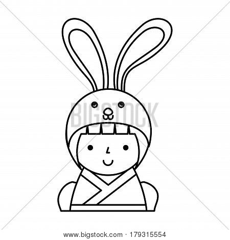 cute japanese doll with a disguise of a rabbit vector illustration design