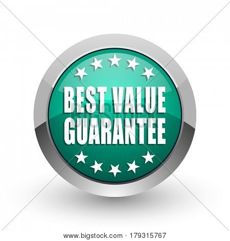 Best value guarantee silver metallic chrome web design green round internet icon with shadow on white background.