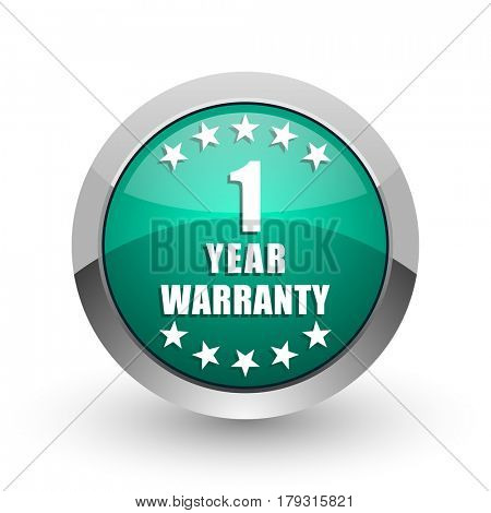 Warranty guarantee 1 year silver metallic chrome web design green round internet icon with shadow on white background.