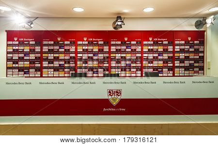 Stuttgart, Germany - September 2016: FC Stuttgart press-room Mercedes Benz Arena - the official playground of FC Stuttgart