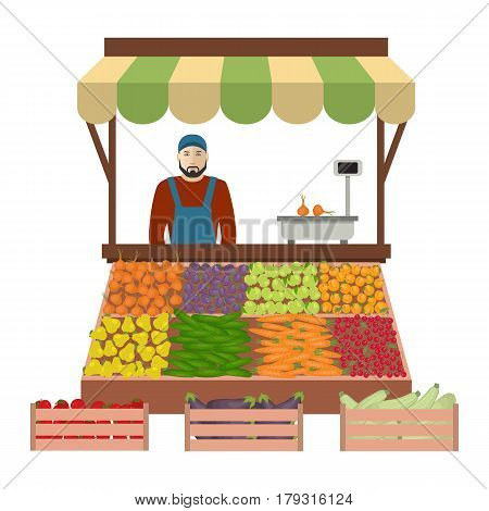 Seller of vegetables and fruits on the market. There is a counter, scales and goods: cucumbers, onions, carrots, eggplant, zucchini, apples, plums, apricots, cherries and pears in the picture. Vector