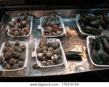 Image of raw fresh mollusks lying in substrate