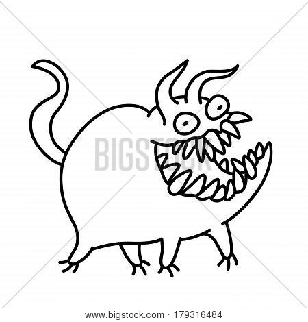 Cartoon cute monster smiles and runs. Vector illustration. Funny emoticon cool character.
