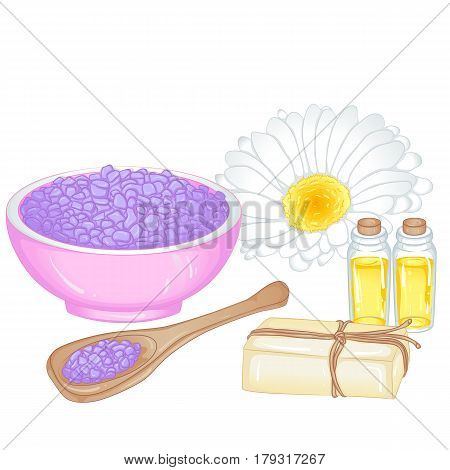 Accessories for spa and aromatherapy. Aromatic salt, aromatic oils, handmade soaps. Vector illustration isolated on white background