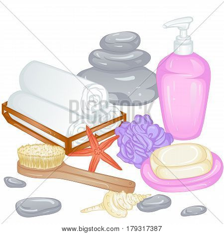 Accessories for spa and baths, sauna. Towels, soap, liquid soap, loofah, brush. Vector illustration isolated on white background