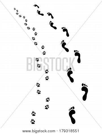 Prints of human feet and dog paws, turn left