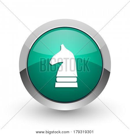 Chess horse silver metallic chrome web design green round internet icon with shadow on white background.