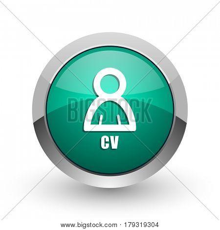 Cv silver metallic chrome web design green round internet icon with shadow on white background.