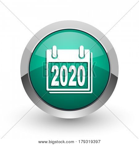 New year 2020 silver metallic chrome web design green round internet icon with shadow on white background.