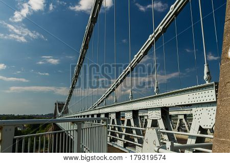 Deck Of The Menai Suspension Bridge Over Between Anglesey And Mainland Wales