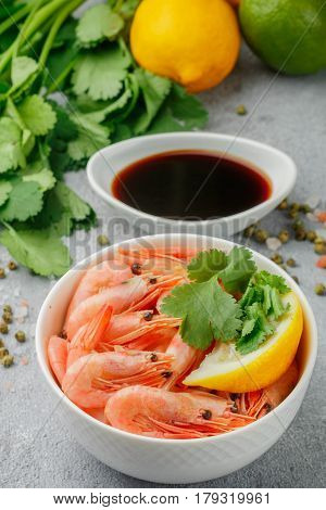 Shrimps Prawns With Lemon, Cilantro And Soy Sauce In A White Plate. Seafood. Selective Focus